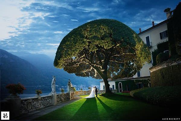Wedding photo taken at the stunning Villa del Balbianello, Italy.