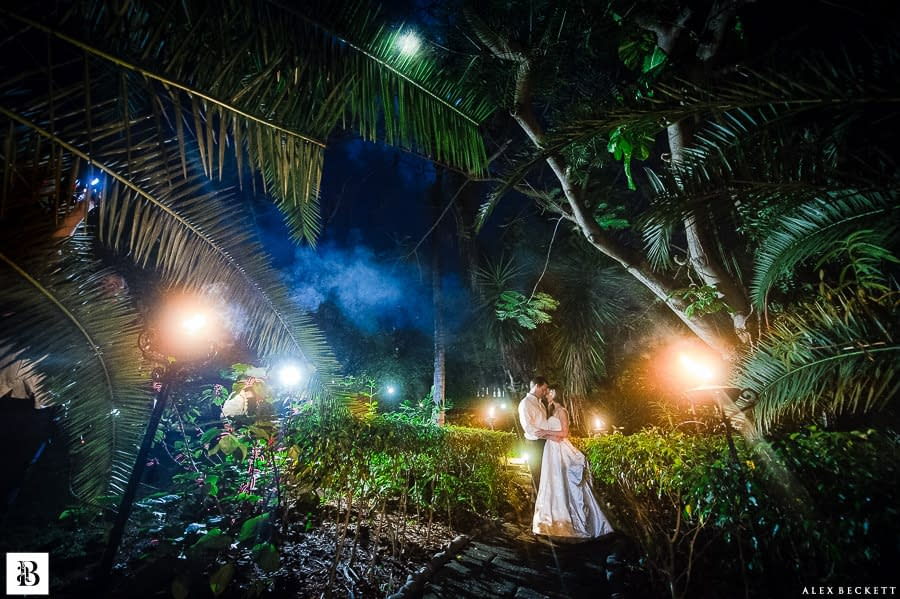 AlexBeckett-130 Bride and Groom Mustique etherial wedding photo moon tropical rainforest wedding romantic Destination Wedding Photographer